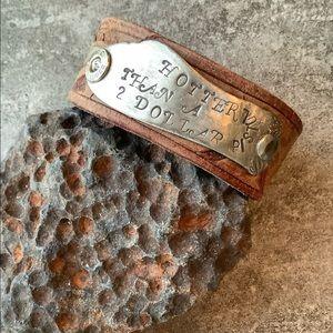 Leather cuff, custom stamped message, medium